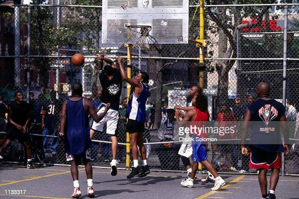 Players battle for a rebound during a pickup game at a playground on West 4th Street on September 13 1997 in New York NOTE TO USER User expressly...