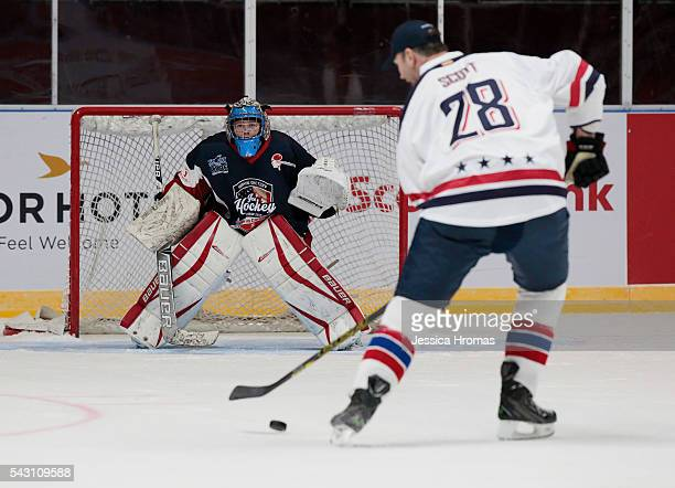 Players battle it out during 4 v 4 charity match between Team USA and Team Canada at Qudos Bank Arena on June 25 2016 in Sydney Australia