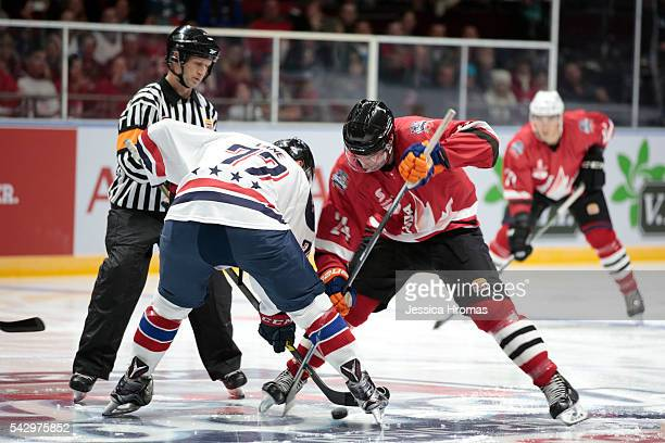 Players battle it out during the Wayne Gretzky Ice Hockey Classic between Team USA and Team Canada at Qudos Bank Arena on June 25 2016 in Sydney...