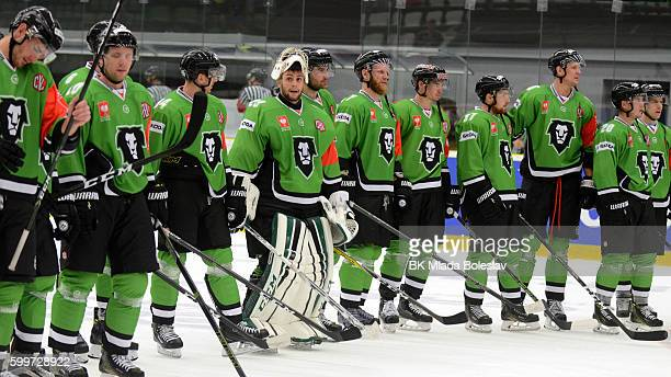 Players BK Mlada Boleslav after the Champions Hockey League match between BK Mlada Boleslav and Yunost Minsk at SKOEnergo Arena on September 6 2016...