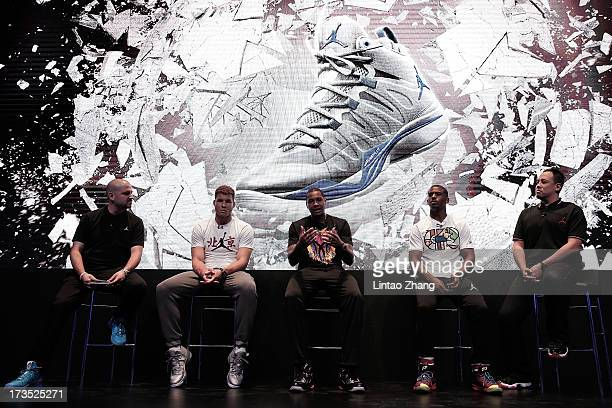 NBA players Blake Griffin Carmelo Anthony and Chris Paul attend a Take Flight Media Event on July 16 2013 in Beijing China