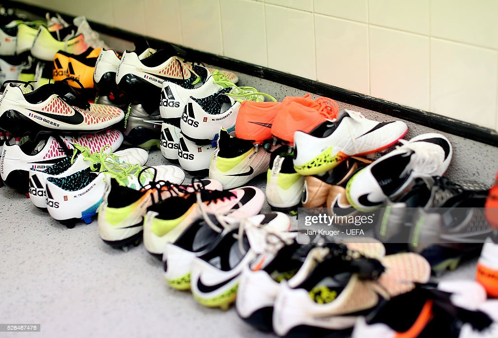 Players boots are seen in the Villarreal CF dressing room ahead of the UEFA Europa League Semi Final second leg match between Liverpool and Villarreal CF at Anfield on May 05, 2016 in Liverpool, England.