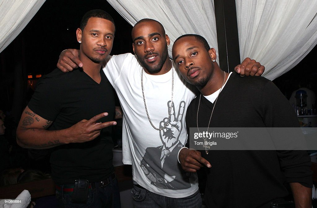NFL players Brent Dunhill DeAngelo Hall and Maurice JonesDrew pose at The Pool at Harrah's Resort on Saturday night December 12 2009 in Atlantic City...