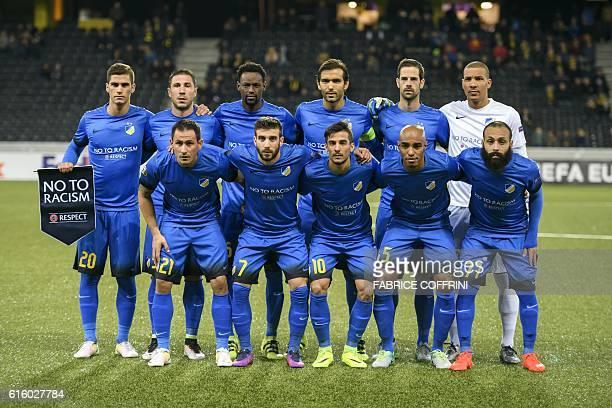 APOEL players Bulgarian midfielder Zhivko Milanov Cypriot midfielder George Efrem Argentinian midfielder Facundo Bertoglio Brazilian Defender Carlao...