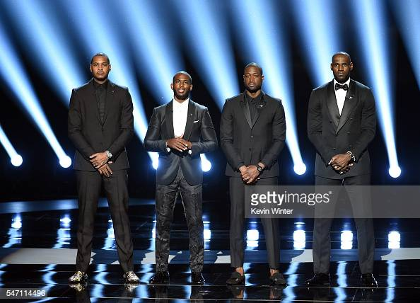 NBA players Carmelo Anthony Chris Paul Dwyane Wade and LeBron James speak onstage during the 2016 ESPYS at Microsoft Theater on July 13 2016 in Los...