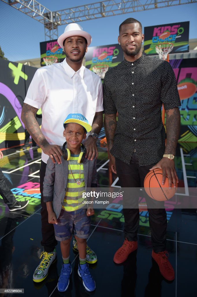 NBA players Carmelo Anthony son Kiyan Anthony and NBA player DeMarcus Cousins attends Nickelodeon Kids' Choice Sports Awards 2014 at UCLA's Pauley...
