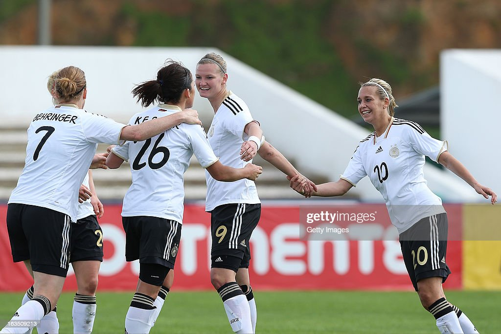 Players celebrate a goal from Nadine Kebler #26 of Germany during the Algarve Cup 2013 match between Norway and Germany at the Estadio Municipal de Lagos on March 11, 2013 in Lagos, Portugal.