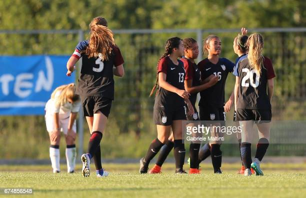 USA U16 players celebrate a goal scored by Maya Doms during the 2nd Female Tournament 'Delle Nazioni' final match between Italy U16 and USA U16 on...