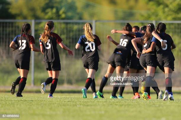 USA U16 players celebrate a goal scored by Mia Fischer during the 2nd Female Tournament 'Delle Nazioni' final match between Italy U16 and USA U16 on...