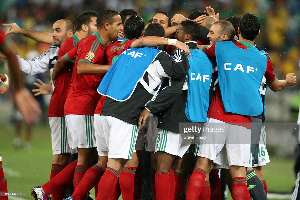 Players celebrate a Morocco goal during the 2013 African Cup of Nations match between Morocco and South Africa at Moses Mahbida Stadium on January 27, 2013 in Durban, South Africa.