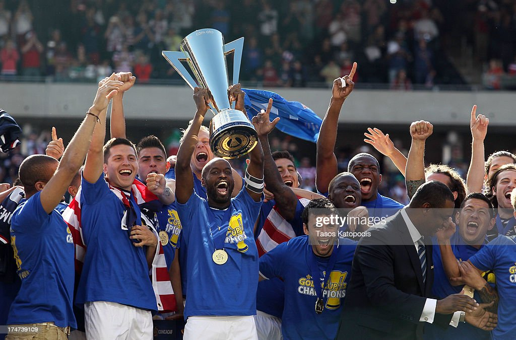 USA players celebrate after a win over Panama during the CONCACAF Gold Cup final match at Soldier Field on July 28, 2013 in Chicago, Illinois. The United States defeated Panama 1-0.
