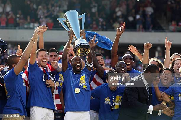 USA players celebrate after a win over Panama during the CONCACAF Gold Cup final match at Soldier Field on July 28 2013 in Chicago Illinois The...