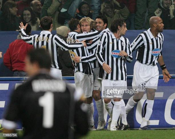 Players celebrate after Pavel Nedved's goal during the Serie B match between Genoa and Juventus at the stadium Luigi Ferraris on December 1 2006 in...