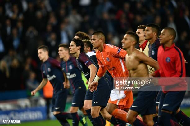 PSG players celebrate after winning the UEFA Champions League football match between Paris SaintGermain and Bayern Munich on September 27 2017 at the...