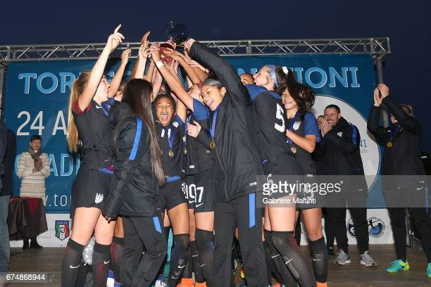 USA U16 players celebrate the victory after the 2nd Female Tournament 'Delle Nazioni' final match between Italy U16 and USA U16 on April 29 2017 in...