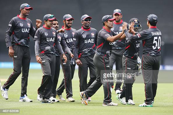 UAE players celebrate the wicvket Aaron Finch of Australia during the Cricket World Cup warm up match between Australia and the United Arab Emirates...
