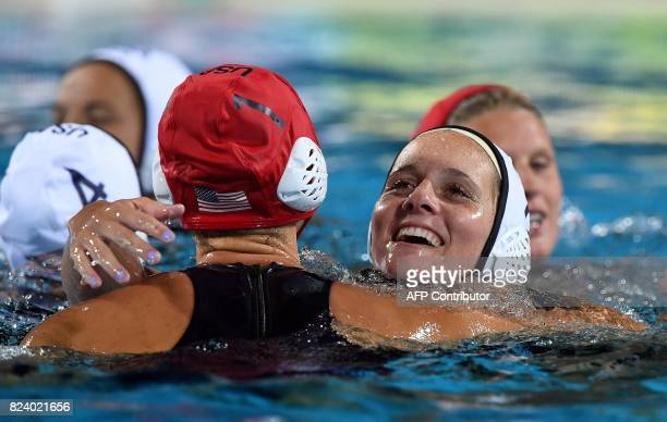 US players celebrate their victory over Spain in 'Hajos Alfred' swimming pool of Budapest on July 28 2017 after the woman final of FINA2017 world...