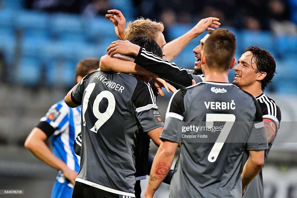 FCK Players celebrates. The Danish Alka Superliga match between Esbjerg fB and FC Copenhagen at Blue Water Arena on May 26, 2016 in Esbjerg, Denmark.