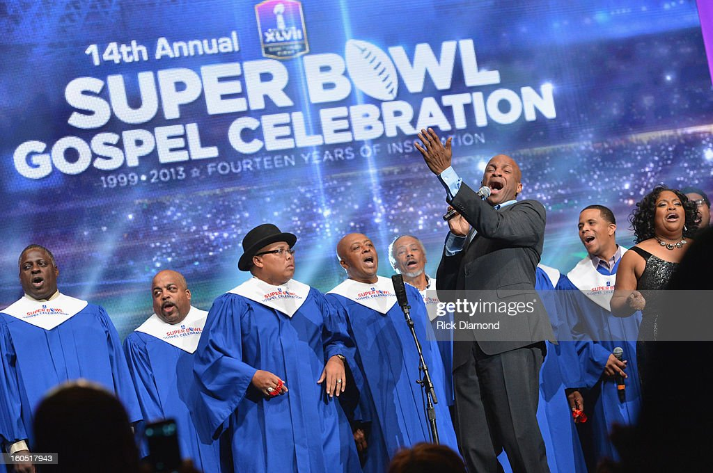 Players Choir, <a gi-track='captionPersonalityLinkClicked' href=/galleries/search?phrase=Donnie+McClurkin&family=editorial&specificpeople=227367 ng-click='$event.stopPropagation()'>Donnie McClurkin</a> and <a gi-track='captionPersonalityLinkClicked' href=/galleries/search?phrase=Sherri+Shepherd&family=editorial&specificpeople=693379 ng-click='$event.stopPropagation()'>Sherri Shepherd</a> perform during the Super Bowl Gospel 2013 Show at UNO Lakefront Arena on February 1, 2013 in New Orleans, Louisiana.