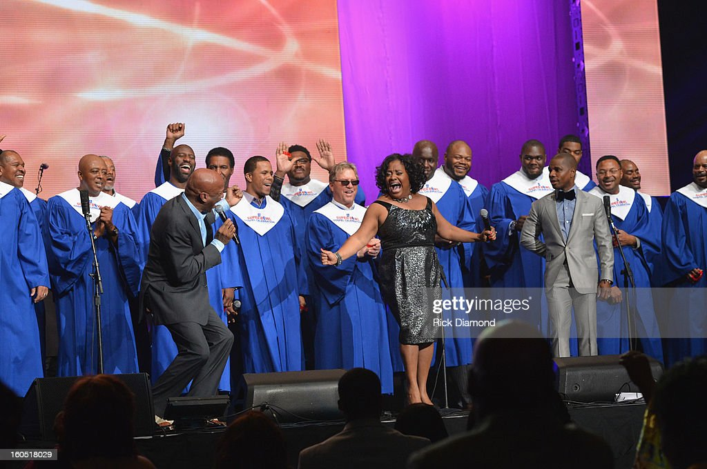 Players Choir featuring Jingle Dreams winners, <a gi-track='captionPersonalityLinkClicked' href=/galleries/search?phrase=Donnie+McClurkin&family=editorial&specificpeople=227367 ng-click='$event.stopPropagation()'>Donnie McClurkin</a> and <a gi-track='captionPersonalityLinkClicked' href=/galleries/search?phrase=Kirk+Franklin&family=editorial&specificpeople=779291 ng-click='$event.stopPropagation()'>Kirk Franklin</a> perform during the Super Bowl Gospel 2013 Show at UNO Lakefront Arena on February 1, 2013 in New Orleans, Louisiana.
