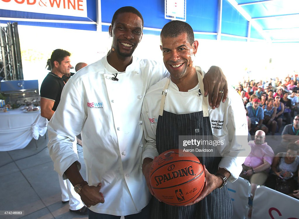 NBA players Chris Bosh (L) and Shane Battier attend KitchenAid® Culinary Demonstrations during the Food Network South Beach Wine & Food Festival at Grand Tasting Village on February 22, 2014 in Miami Beach, Florida.