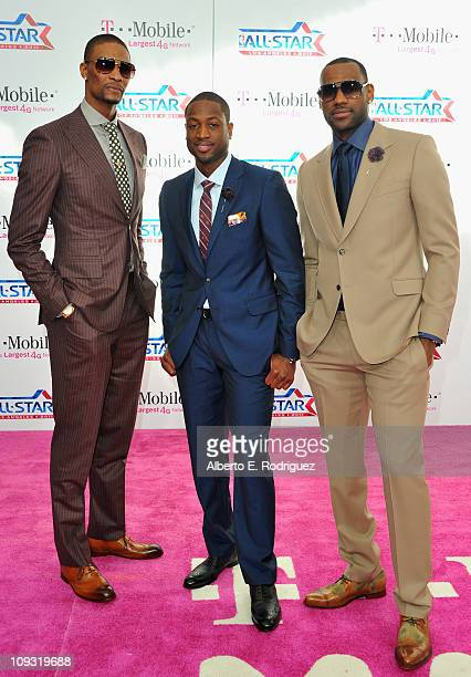 NBA players Chris Bosh Dwyane Wade and LeBron James arrive to the TMobile Magenta Carpet at the 2011 NBA AllStar Game on February 20 2011 in Los...