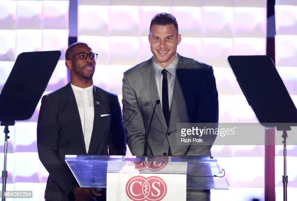 NBA players Chris Paul and Blake Griffin speak onstage during 32nd Annual CedarsSinai Sports Spectacular at W Los Angeles Westwood on April 3 2017 in...