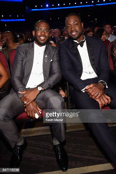 NBA players Chris Paul and Dwyane Wade attend the 2016 ESPYS at Microsoft Theater on July 13 2016 in Los Angeles California