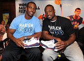 NBA players Chris Paul and Dwyane Wade attend the Jordan Brand athletes discussion of 'For The Love Of The Game' during World Basketball Festival at...
