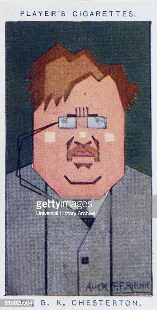 Player's cigarette card depicting Gilbert Keith Chesterton better known as G K Chesterton was an English writer poet philosopher dramatist journalist...