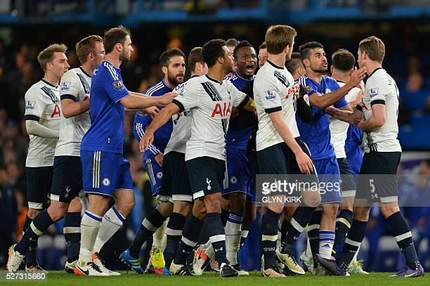 Players clash after a foul during the English Premier League football match between Chelsea and Tottenham Hotspur at Stamford Bridge in London on May...