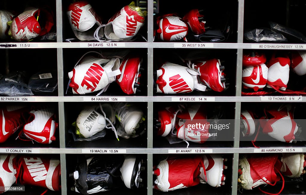 Players cleats during the NFL game between Kansas City Chiefs and Detroit Lions at Wembley Stadium on November 01 2015 in London England
