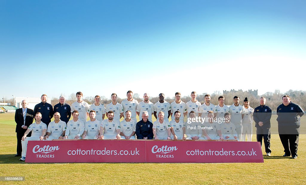Players, coaches and staff of Durham CCC pose for a team photo during a pre-season photocall at The Riverside on April 3, 2013 in Chester-le-Street, England.
