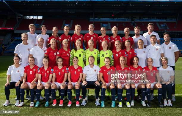 Players coaches and staff poses for team photo during a Norway FA Photo Shoot on July 5 2017 at Ulleval in Oslo Norway