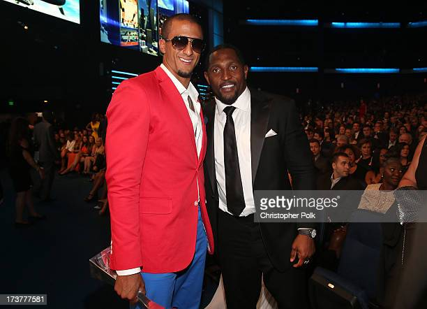 NFL players Colin Kaepernick and Ray Lewis attends The 2013 ESPY Awards at Nokia Theatre LA Live on July 17 2013 in Los Angeles California