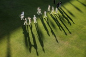 Players come from the field at the end of play during day three of the Second Test match between South Africa and Australia at AXXESS St George's...