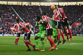 Players compete during the Barclays Premier League match between Southampton and Sunderland at St Mary's Stadium on March 5 2016 in Southampton...
