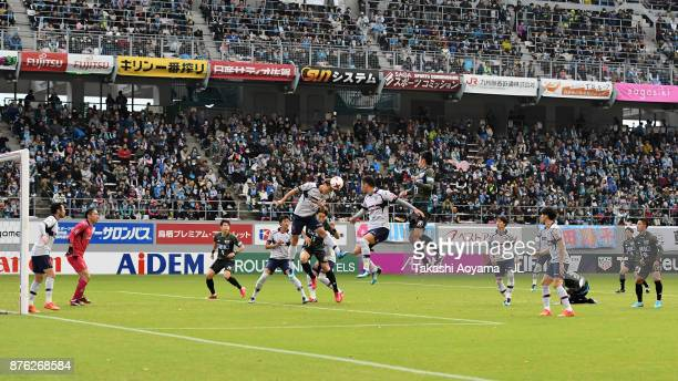 Players compete during the JLeague J1 match between Sagan Tosu and FC Tokyo at Best Amenity Stadium on November 18 2017 in Tosu Saga Japan
