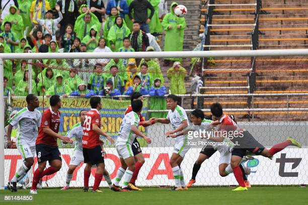 Players compete during the JLeague J2 match between Nagoya Grampus and Shonan Bellmare at Paroma Mizuho Stadium on October 15 2017 in Nagoya Aichi...