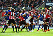 Players compete for the ball during the Barclays Premier League match between Sunderland and Leicester City at Stadium of Light on May 16 2015 in...