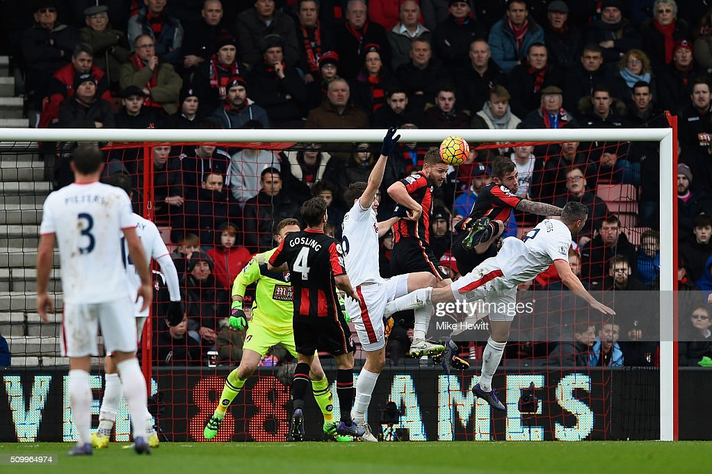 Players compete for the ball during the Barclays Premier League match between A.F.C. Bournemouth and Stoke City at Vitality Stadium on February 13, 2016 in Bournemouth, England.