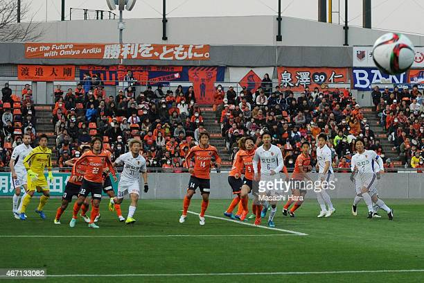 Players compete for the ball during the J League 2nd division match between Omiya Ardija and Kyoto Sanga FC at Nack 5 Stadium Omiya on March 21 2015...