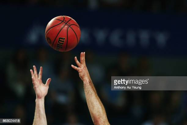 Players compete for the ball during the round three NBL match between the New Zealand Breakers and the Sydney Kings at Spark Arena on October 19 2017...