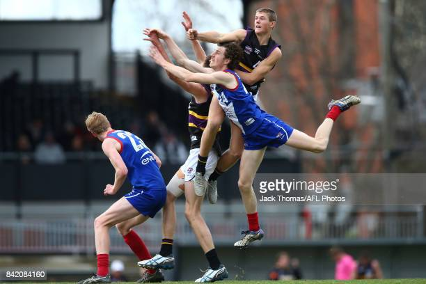 Players compete for the ball during the TAC Cup round 18 match between Gippsland and Murray at Victoria Park on September 3 2017 in Melbourne...