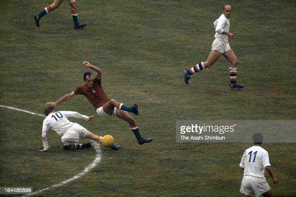 Players compete in the Football Final match between Hungary and Czechoslovakia during the Tokyo Olympic at the National Stadium on October 23 1964 in...