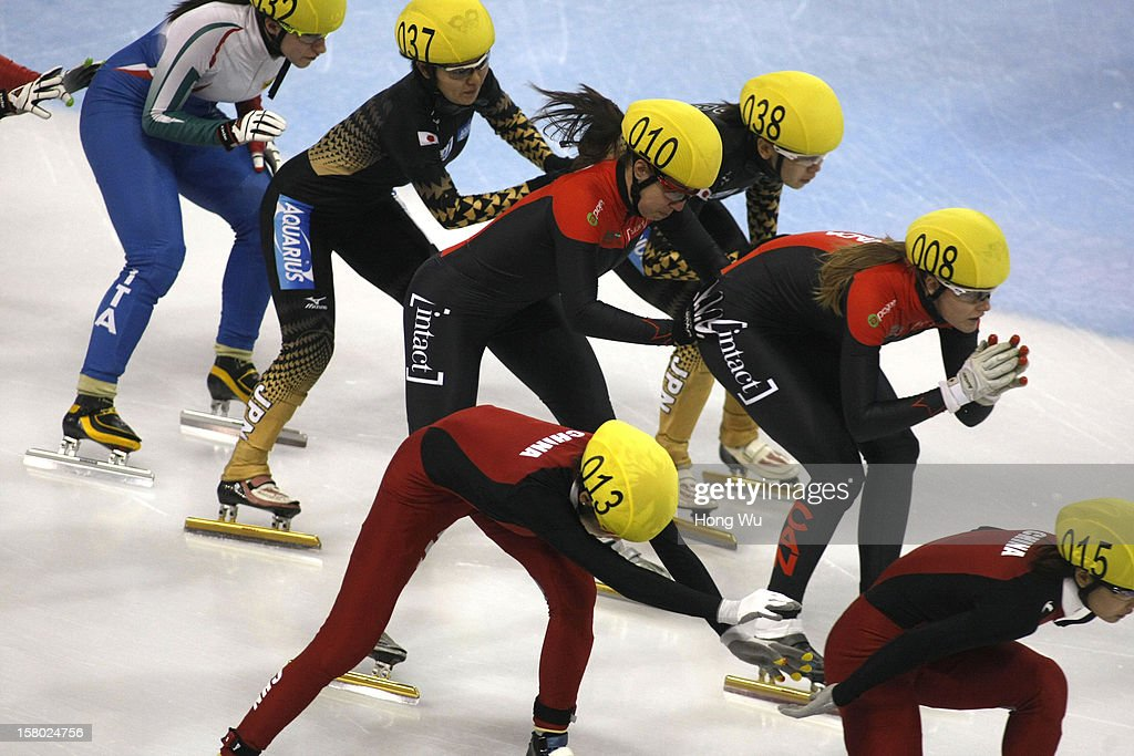 Players compete in the Women's 3000m Relay Final during the day two of the ISU World Cup Short Track at the Oriental Sports Center on December 9, 2012 in Shanghai, China.
