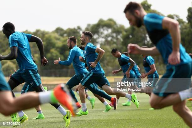 Players complete drills during a Melbourne City FC training session at City Football Academy on March 3 2017 in Melbourne Australia