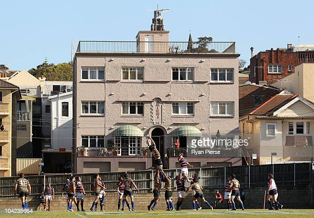 Players contest a line out during the Shute Shield Elimination Final match between Sydney University and Eastern Suburbs at Coogee Oval on September...
