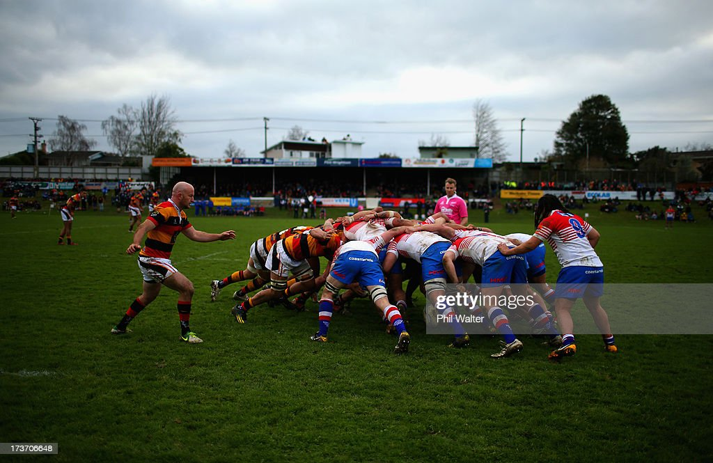 Players contest a scrum during the Ranfurly Shield match between Waikato and Horowhenua-Kapiti at the Morrinsville Domain on July 17, 2013 in Morrinsville, New Zealand.