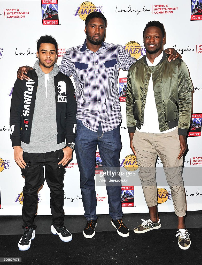 NBA players D'Angelo Russell, Roy Hibbert and Julius Randle attend the 12th Annual Lakers All-Access event at Staples Center on January 25, 2016 in Los Angeles, California.